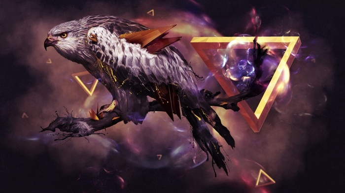 3D, CGI, branch, animals, digital art, artwork, eagle, triangle, Penrose triangle, wings, birds