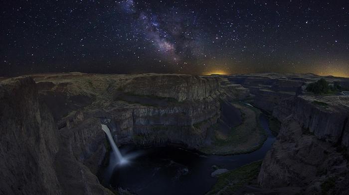 starry night, universe, waterfall, canyon, river, Washington state, galaxy, long exposure, nature, lights, Palouse Falls, landscape, Milky Way