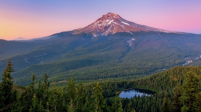mountain, lake, landscape, green, sunset, forest, spring, nature