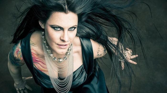 girl, singer, long hair, brunette, rings, Floor Jansen, blue eyes, Nightwish, tattoo, collars, nose rings
