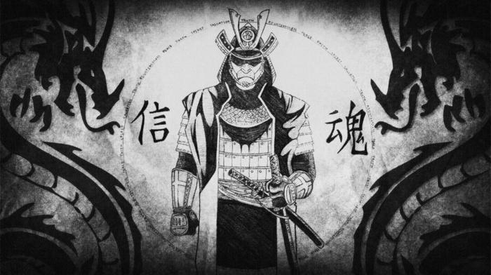 dragon, samurai, Japan