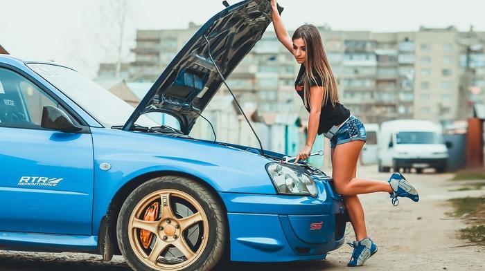 STI, Subaru, girl, model, Irina Vysockaya, car