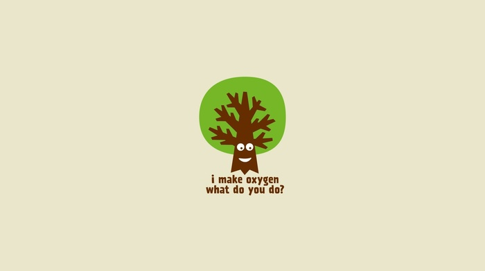 digital art, green, white background, minimalism, quote, smiling, trees, humor
