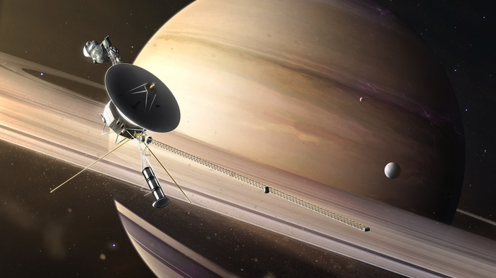 technology, moon, CGI, Voyager, stars, digital art, space, universe, planet, satellite, saturn