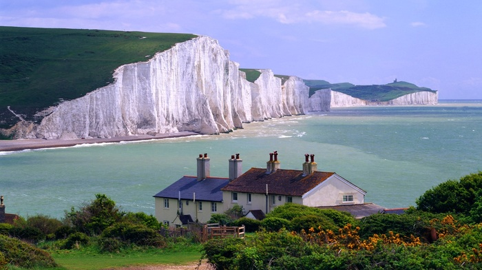 nature, landscape, sea, coast, cliff, England, Seven Sisters