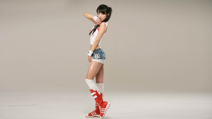 girl, jean shorts, Asian, model, South Korea