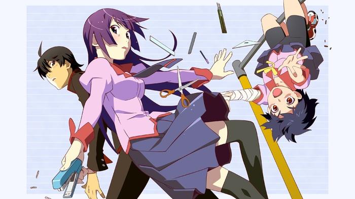 anime, Araragi Koyomi, Kanbaru Suruga, Senjougahara Hitagi, monogatari series