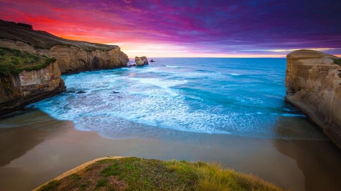 coast, cliff, blue, landscape, water, sunset, red, beach, sea, grass, nature, clouds