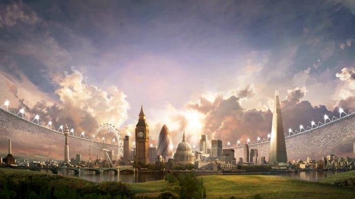 grass, landscape, clouds, architecture, stadium, skyscraper, digital art