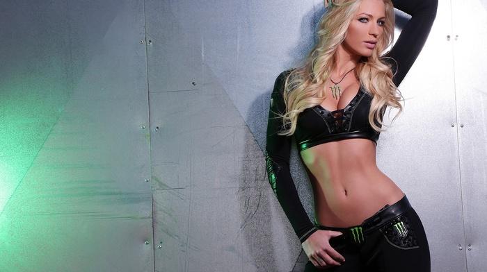 Black clothes, Monster Energy, walls, girl, blonde, model, April Vaughan