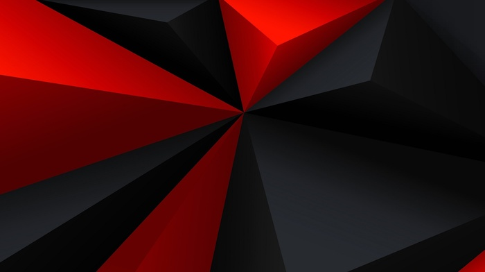 red, digital art, gray, black, geometry, abstract, low poly, triangle, minimalism
