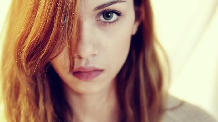 depth of field, girl, green eyes, face, redhead, portrait, model, long hair