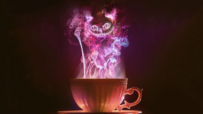 tea, smoke, cup, Alice in Wonderland, Cheshire Cat