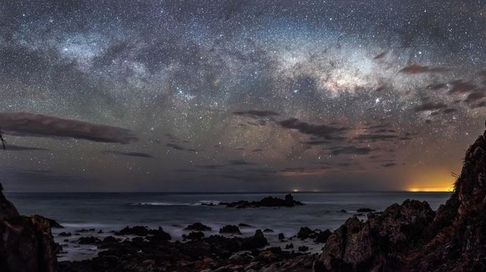 long exposure, galaxy, clouds, night, starry night, stars, sea, rock, landscape, sunrise