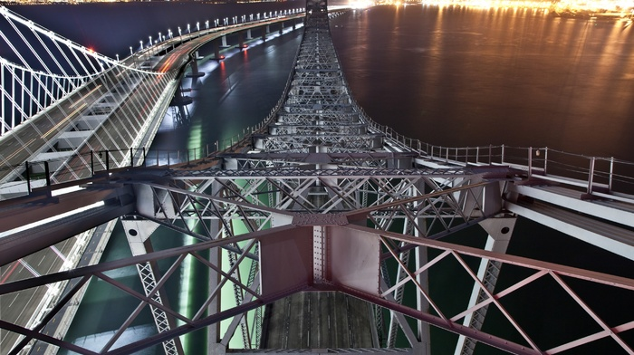night, water, metal, long exposure, cityscape, sea, USA, architecture, San Francisco Bay, lights, construction, bridge, light trails
