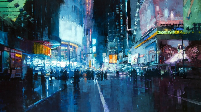 Lights Road City New York Times Square Artwork Painting Download Wallpaper