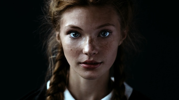 face, pigtails, blue eyes, simple background, long hair, freckles, looking at viewer, redhead, model, braids, portrait, girl, depth of field