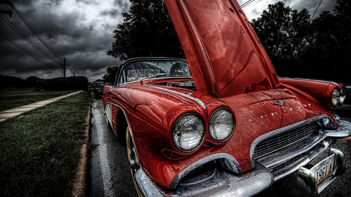 old car, car, 1961 Chevrolet Corvette, Corvette, HDR, red cars