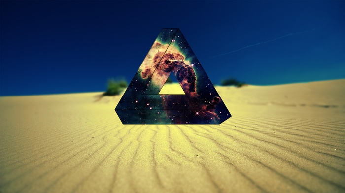desert, space, Penrose triangle, nebula, triangle
