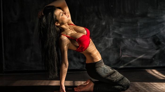 leggings, Marina Shimkovich, armpits, yoga pants, lingerie, red bras, brunette, long hair, model, girl, dark hair, flat belly, kneeling, bra