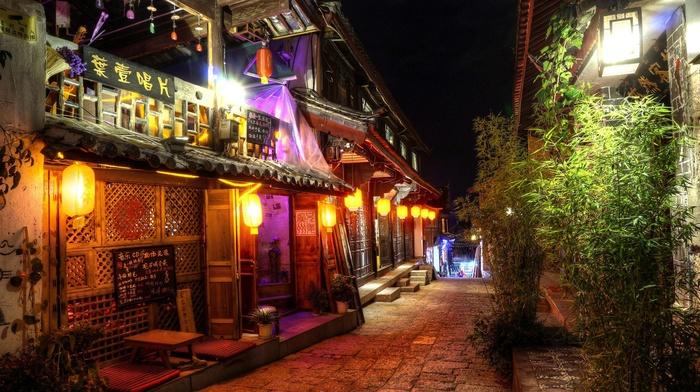 oriental, Asian architecture, night