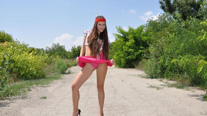 model, panties, Valeria A, Aleksa Slusarchi, short skirt, Met, art, high heels, lingerie, road, girl
