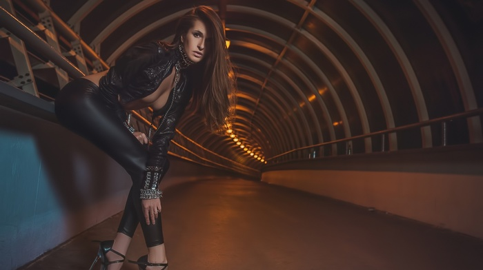 high heels, girl, model, tunnel, Black clothes