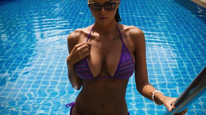 brunette, girl with glasses, bikini, Aleksandr Mavrin, bare shoulders, fake boobs, chest tattoos, sensual gaze, brown eyes, russian girl, Viki Odintcova, swimming pool, lin, tattoo, big boobs, flat belly, boobs, model, armpits, girl