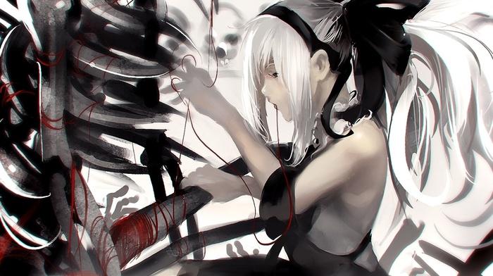 skeleton, white hair, black dress