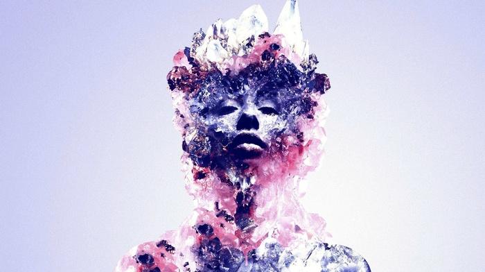 Justin Maller, simple background, face, digital art