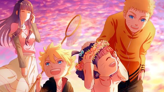 Naruto Shippuuden, families, wreaths, Uzumaki Himawari, Uzumaki Boruto, anime, sunset, Uzumaki Naruto, Hyuuga Hinata