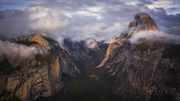 sunset, landscape, mountain, Yosemite National Park, nature, clouds, valley, cliff, forest