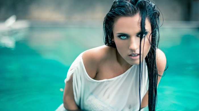 wet, bare shoulders, face, wet hair, tank top, looking at viewer, brunette, model, girl, wet clothing, girl outdoors, long hair, open mouth, water, blue eyes, swimming pool