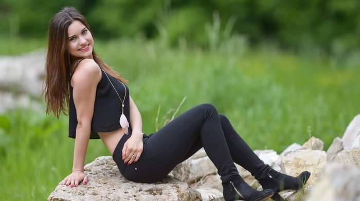 model, girl, Black clothes, rock