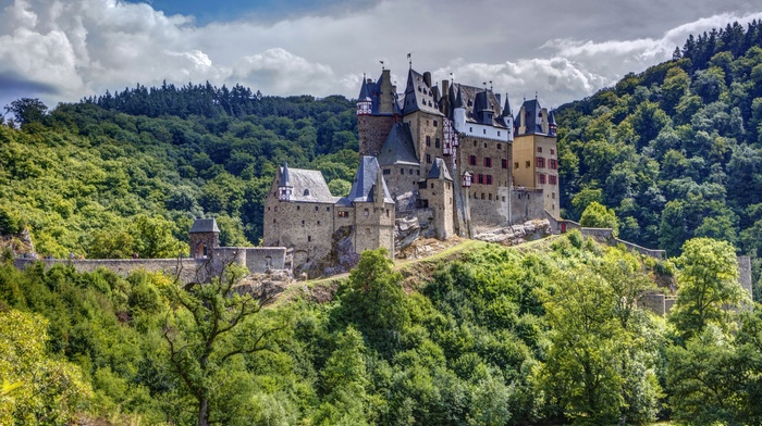 clouds, tower, architecture, HDR, nature, Eltz Castle, forest, Germany, castle, old building, trees