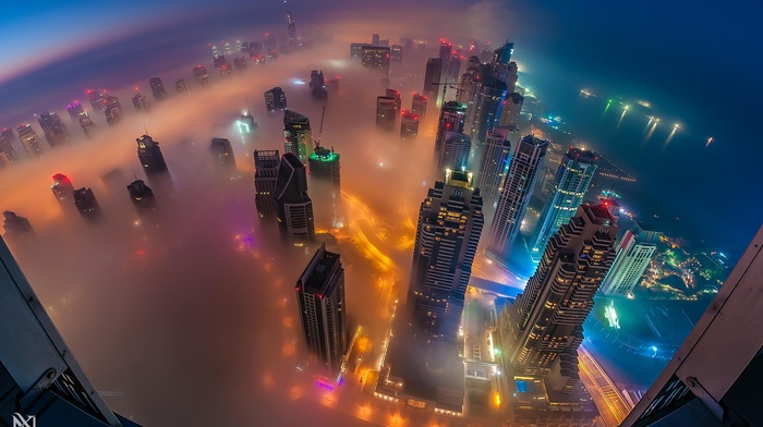 Dubai, skyscraper, mist, United Arab Emirates, cityscape, city