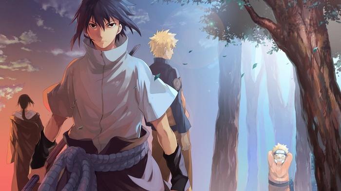 Uchiha Sasuke, forest, Uzumaki Naruto, Uchiha Itachi, Naruto Shippuuden
