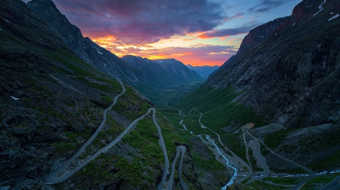 river, clouds, sunset, mountain, road, nature, valley, landscape, Norway