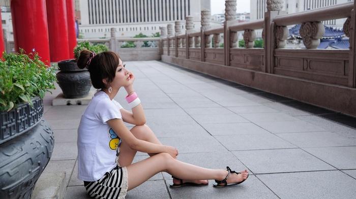 Asian, brunette, sitting, flip flops, girl, Mikako Zhang Kaijie, model, girl outdoors, tiles, Asian architecture, long hair