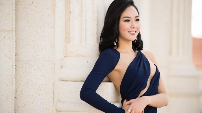Asian, long hair, smiling, girl outdoors, model, Korean, Yoo Ye, bin, girl, blue dress, brunette
