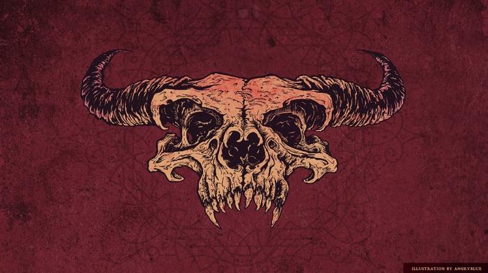skull, red, artwork, horns, satanic, demon, angryblue, fantasy art