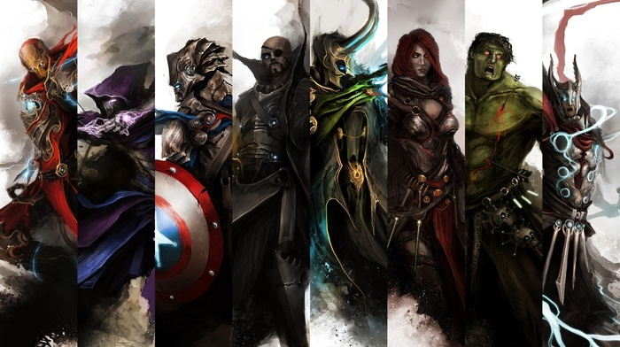 Captain America, loki, Hulk, nick fury, Iron Man, hawkeye, Thor, Black Widow
