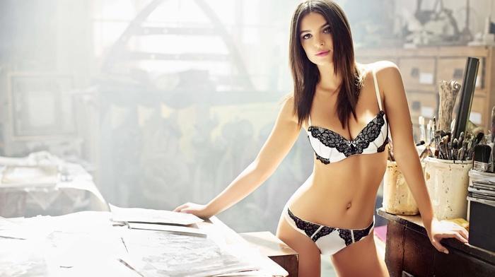 girl, lingerie, model, Emily Ratajkowski