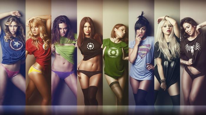 Green Lantern, spider, man, The Flash, Marvel vs DC Comic, girl, T, shirt, Ian Reyes, Thor, Hulk, Iron Man, Captain America, DC Comics, Superman