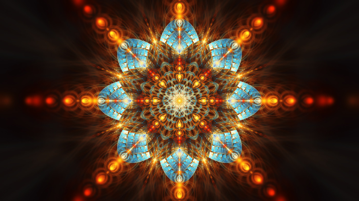 fractal flowers, digital art, fractal, symmetry, abstract