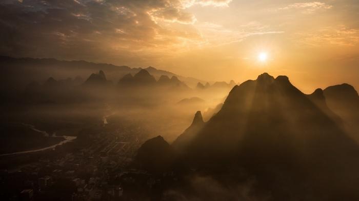 China, clouds, landscape, sunrise, Guilin, nature, cityscape, mist, river, mountain