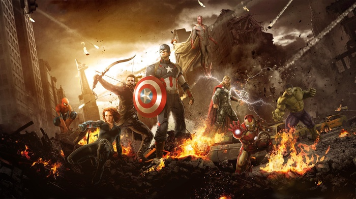 Scarlett Johansson, spider, man, movies, Captain America, The Vision, Avengers Age of Ultron, Hulk, hawkeye, Black Widow, Iron Man, Thor, The Avengers