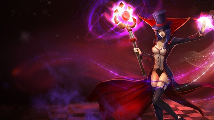 staff, video games, simple background, LeBlanc League of Legends, League of Legends, video game girls, magician