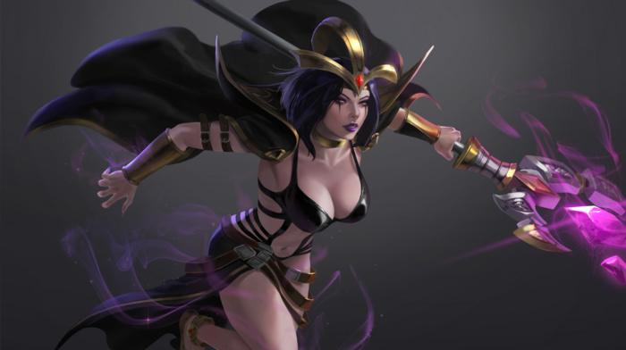 League of Legends, LeBlanc League of Legends, magician, cleavage, video games, video game girls, simple background, staff
