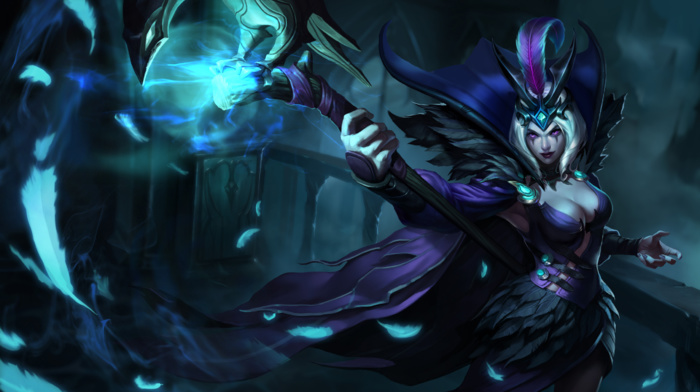 staff, video games, magician, League of Legends, LeBlanc League of Legends, fantasy art, video game girls, cleavage